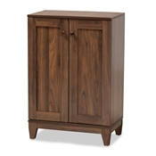 Baxton Studio Nissa Modern and Contemporary Walnut Brown Finished Wood 2-Door Shoe Storage Cabinet