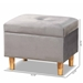 Baxton Studio Elias Modern and Contemporary Grey Velvet Fabric Upholstered and Oak Brown Finished Wood Storage Ottoman - IEJY20A250-Grey Velvet-Otto