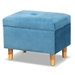 Baxton Studio Elias Modern and Contemporary Sky Blue Velvet Fabric Upholstered and Oak Brown Finished Wood Storage Ottoman