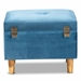 Baxton Studio Elias Modern and Contemporary Sky Blue Velvet Fabric Upholstered and Oak Brown Finished Wood Storage Ottoman - IEJY20A250-Sky Blue Velvet-Otto