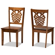 Baxton Studio Gervais Modern and Contemporary Transitional Walnut Brown Finished Wood 2-Piece Dining Chair Set
