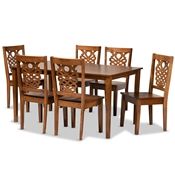 Baxton Studio Luisa Modern and Contemporary Transitional Walnut Brown Finished Wood 7-Piece Dining Set