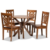 Baxton Studio Liese Modern and Contemporary Transitional Walnut Brown Finished Wood 5-Piece Dining Set