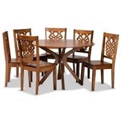 Baxton Studio Liese Modern and Contemporary Transitional Walnut Brown Finished Wood 7-Piece Dining Set