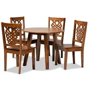 Baxton Studio Mina Modern and Contemporary Transitional Walnut Brown Finished Wood 5-Piece Dining Set