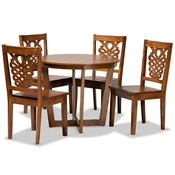 Baxton Studio Salida Modern and Contemporary Transitional Walnut Brown Finished Wood 5-Piece Dining Set