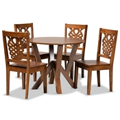 Baxton Studio Valda Modern and Contemporary Transitional Walnut Brown Finished Wood 5-Piece Dining Set