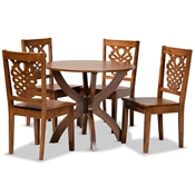 Baxton Studio Wanda Modern and Contemporary Transitional Walnut Brown Finished Wood 5-Piece Dining Set