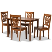 Baxton Studio Luisa Modern and Contemporary Transitional Walnut Brown Finished Wood 5-Piece Dining Set