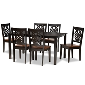 Baxton Studio Luisa Modern and Contemporary Two-Tone Dark Brown and Walnut Brown Finished Wood 7-Piece Dining Set