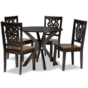 Baxton Studio Liese Modern and Contemporary Transitional Two-Tone Dark Brown and Walnut Brown Finished Wood 5-Piece Dining Set