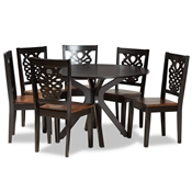 Baxton Studio Liese Modern and Contemporary Transitional Two-Tone Dark Brown and Walnut Brown Finished Wood 7-Piece Dining Set
