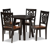 Baxton Studio Mina Modern and Contemporary Transitional Two-Tone Dark Brown and Walnut Brown Finished Wood 5-Piece Dining Set