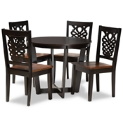 Baxton Studio Salida Modern and Contemporary Transitional Two-Tone Dark Brown and Walnut Brown Finished Wood 5-Piece Dining Set