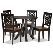 Baxton Studio Valda Modern and Contemporary Transitional Two-Tone Dark Brown and Walnut Brown Finished Wood 5-Piece Dining Set