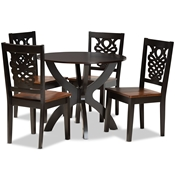 Baxton Studio Wanda Modern and Contemporary Transitional Two-Tone Dark Brown and Walnut Brown Finished Wood 5-Piece Dining Set