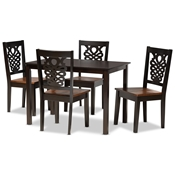 Baxton Studio Luisa Modern and Contemporary Two-Tone Dark Brown and Walnut Brown Finished Wood 5-Piece Dining Set