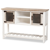 Baxton Studio Deacon Rustic Industrial Farmhouse Weathered Two-Tone White and Oak Brown Finished Wood 2-Door Dining Room Sideboard Buffet