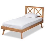 Baxton Studio Galvin Modern and Contemporary Brown Finished Wood Twin Size Platform Bed