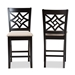 Baxton Studio Nicolette Modern and Contemporary Sand Fabric Upholstered and Dark Brown Finished Wood 2-Piece Counter Stool Set - IERH340P-Sand/Dark Brown-PC