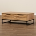 Baxton Studio Franklin Modern and Contemporary Oak Brown Finished Wood and Black Finished Metal 2-Drawer Coffee Table - IECT8007-Oak-CT
