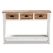 Baxton Studio Benedict Traditional Farmhouse and Rustic Two-Tone White and Oak Brown Finished Wood 3-Drawer Console Table - IEJY19Y1066-White/Oak-Console