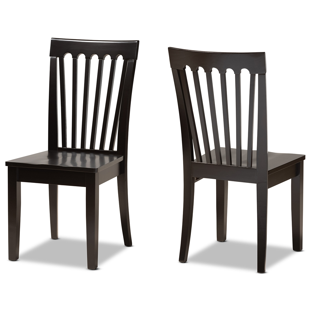 Baxton Studio Minette Modern And Contemporary Transitional Dark Brown Finished Wood 2 Piece Dining Chair Set Interior Express