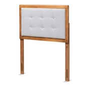 Baxton Studio Sarine Mid-Century Modern Light Grey Fabric Upholstered and Walnut Brown Finished Wood Twin Size Headboard