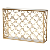 Baxton Studio Dawson Glam and Luxe Brushed Gold Finished Metal and Glass Console Table