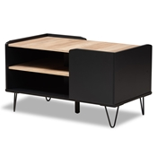 Baxton Studio Lilith Modern and Contemporary Two-Tone Black and Oak Brown Finished Wood and Metal 3-Tier Coffee Table