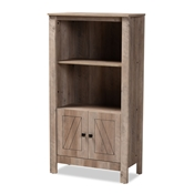 Baxton Studio Derek Modern and Contemporary Transitional Natural Oak Finished Wood 3-Tier Bookcase