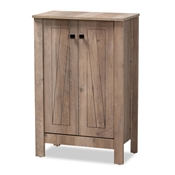 Baxton Studio Derek Modern and Contemporary Transitional Natural Oak Finished Wood 2-Door Shoe Cabinet