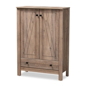 Baxton Studio Derek Modern and Contemporary Transitional Natural Oak Finished Wood 1-Drawer Shoe Cabinet