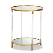 Baxton Studio Aubrie Glam and Luxe Brushed Gold Finished Metal and Mirrored Glass Round Accent End Table with Acrylic Legs