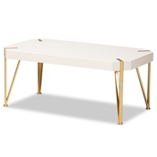 Baxton Studio Kassa Contemporary Glam and Luxe Brushed Gold Metal and White Finished Wood Coffee Table