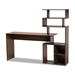 Baxton Studio Foster Modern and Contemporary Walnut Brown Finished Wood Storage Desk with Shelves