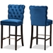Baxton Studio Daphne Modern and Contemporary Navy Blue Velvet Fabric Upholstered and Dark Brown Finished Wood 2-Piece Bar Stool Set