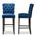 Baxton Studio Daphne Modern and Contemporary Navy Blue Velvet Fabric Upholstered and Dark Brown Finished Wood 2-Piece Bar Stool Set - IEBBT5409B-Navy Blue Velvet/Wenge-BS