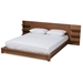 Baxton Studio Elina Modern and Contemporary Walnut Brown Finished Wood Queen Size Platform Storage Bed with Shelves