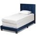 Baxton Studio Caprice Modern and Contemporary Glam Navy Blue Velvet Fabric Upholstered Twin Size Panel Bed