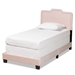 Baxton Studio Benjen Modern and Contemporary Glam Light Pink Velvet Fabric Upholstered Twin Size Panel Bed