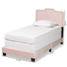 Baxton Studio Benjen Modern and Contemporary Glam Light Pink Velvet Fabric Upholstered Twin Size Panel Bed - IECF9210C-Light Pink Velvet-Twin
