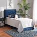 Baxton Studio Tamira Modern and Contemporary Glam Navy Blue Velvet Fabric Upholstered Twin Size Panel Bed - IECF9210E-Navy Blue Velvet-Twin
