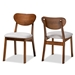 Baxton Studio Damara Mid-Century Modern Grey Fabric Upholstered and Walnut Brown Finished Wood 2-Piece Dining Chair Set