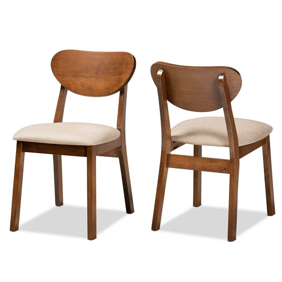 Baxton Studio Damara Mid-Century Modern Sand Fabric Upholstered and Walnut Brown Finished Wood 2-Piece Dining Chair Set