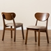 Baxton Studio Damara Mid-Century Modern Sand Fabric Upholstered and Walnut Brown Finished Wood 2-Piece Dining Chair Set - IERH367C-Sand/Walnut Flat Seat-DC-2PK