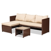 Baxton Studio Carlton Modern and Contemporary Sand Fabric Upholstered and Brown Finished Woven PE Rattan 3-Piece Outdoor Patio Lounge Set