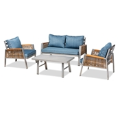 Baxton Studio Nicholson Modern and Contemporary Blue Fabric Upholstered and Grey Finished Metal with Brown Finished PE Rattan 4-Piece Outdoor Patio Lounge Set