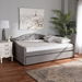 Baxton Studio Becker Modern and Contemporary Transitional Grey Fabric Upholstered Full Size Daybed with Trundle - IEBecker-Grey-Daybed-F/T