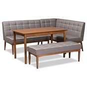 Baxton Studio Sanford Mid-Century Modern Grey Fabric Upholstered and Walnut Brown Finished Wood 4-Piece Dining Nook Set